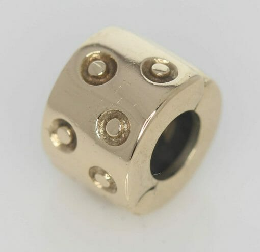 Pandora 14ct Gold Spotted Fixed Clip Charm - 750345 - ALE 585 3