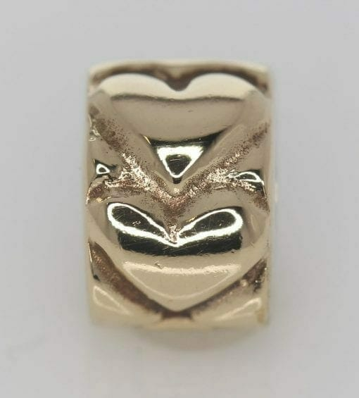 Pandora 14ct Gold Heart Fixed Clip Charm - 750243 - ALE 585 2