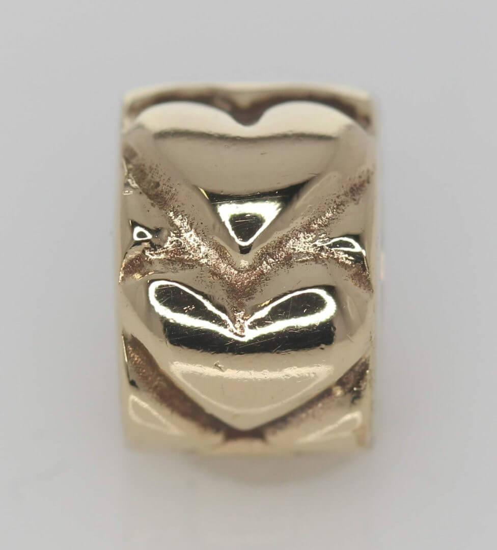 Pandora 14ct Gold Heart Fixed Clip Charm - 750243 - ALE 585 2