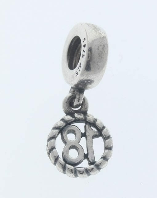 """Pandora Sterling Silver """"18"""" Eighteen Hanging Charm - 790495 - Retired ALE 925 2"""