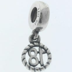 """Pandora Sterling Silver """"18"""" Eighteen Hanging Charm - 790495 - Retired ALE 925 4"""