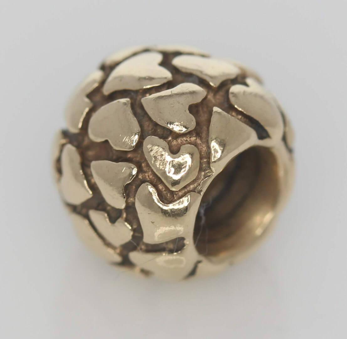 Pandora 14ct Gold Lotsa Love Hearts Charm - 750236 - Retired ALE 585 4