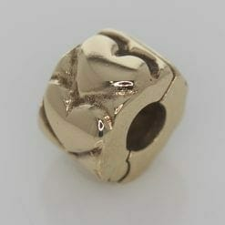 Pandora 14ct Gold Heart Fixed Clip Charm - 750243 - ALE 585 6