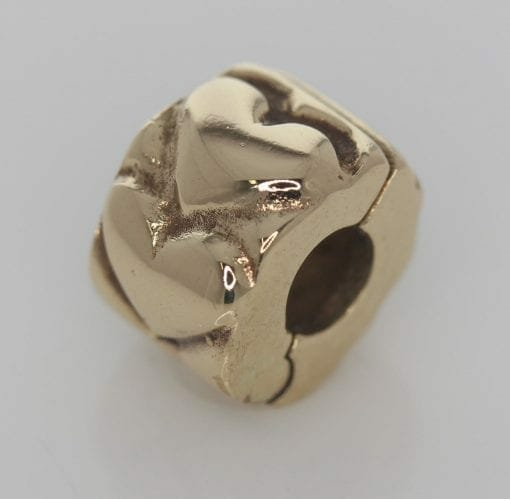 Pandora 14ct Gold Heart Fixed Clip Charm - 750243 - ALE 585 3