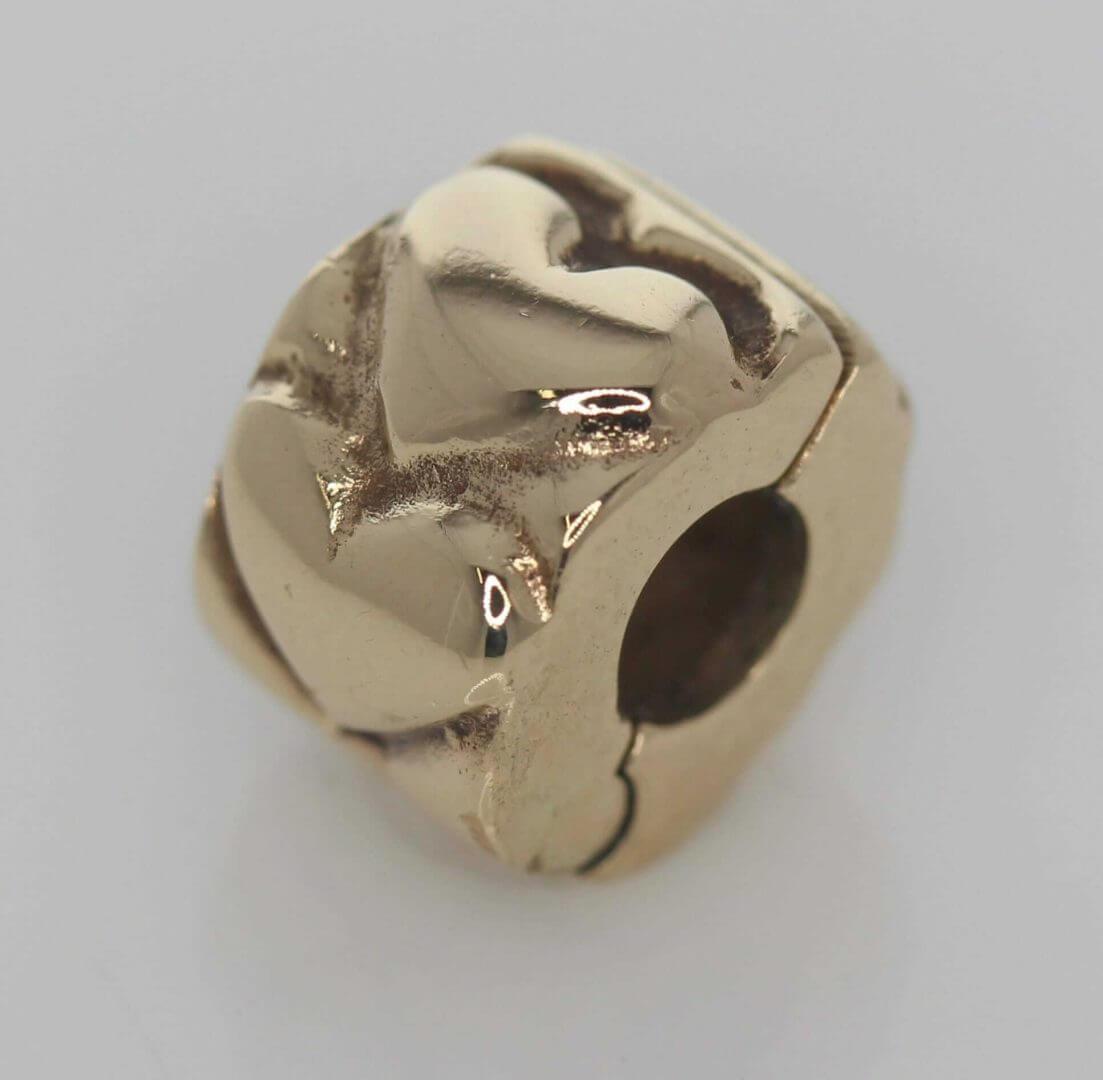 Pandora 14ct Gold Heart Fixed Clip Charm - 750243 - ALE 585 3