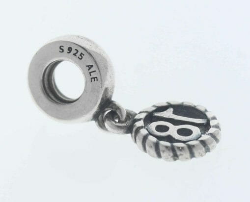 """Pandora Sterling Silver """"18"""" Eighteen Hanging Charm - 790495 - Retired ALE 925 3"""