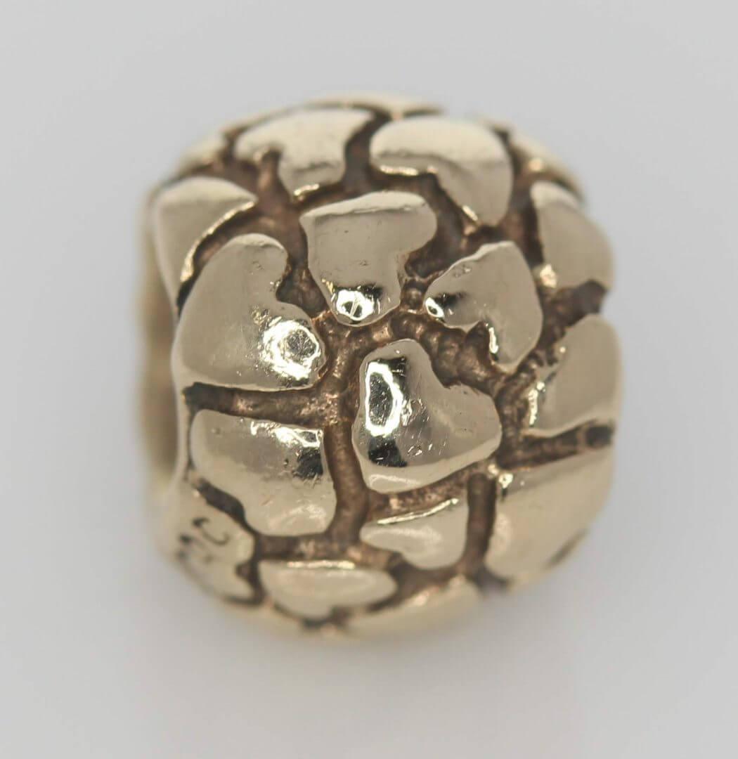 Pandora 14ct Gold Lotsa Love Hearts Charm - 750236 - Retired ALE 585 5