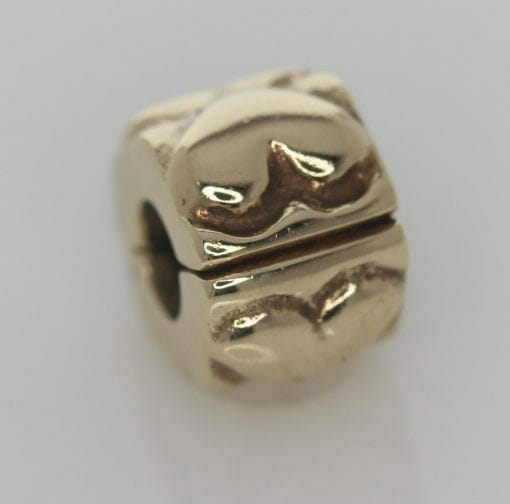 Pandora 14ct Gold Heart Fixed Clip Charm - 750243 - ALE 585 4
