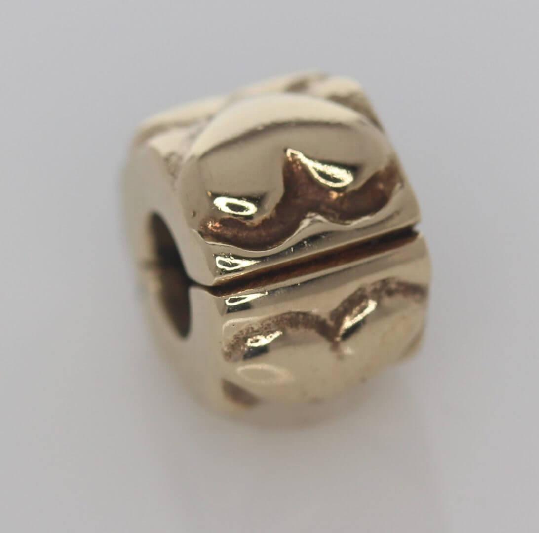 Pandora 14ct Gold Heart Fixed Clip Charm - 750243 - ALE 585 4