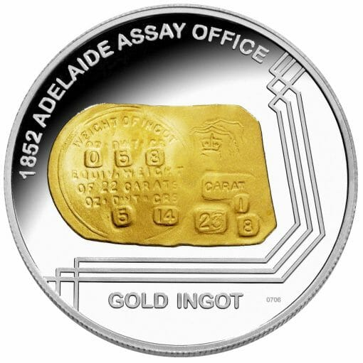 """2009 """"1852 Adelaide Assay Office Gold Ingot"""" 1oz .999 Silver Proof Coin 1"""