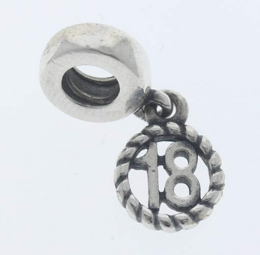 """Pandora Sterling Silver """"18"""" Eighteen Hanging Charm - 790495 - Retired ALE 925 1"""