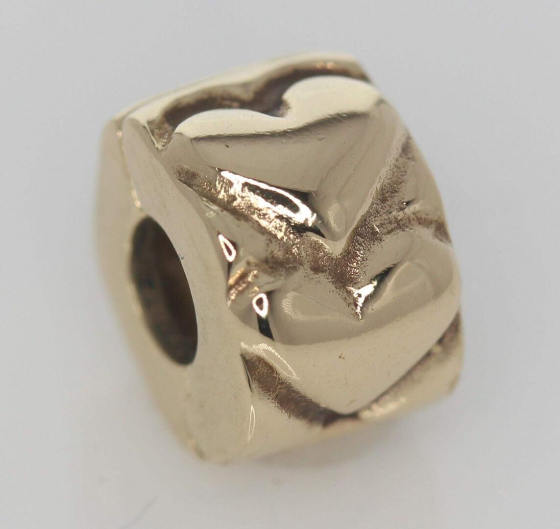 Pandora 14ct Gold Heart Fixed Clip Charm - 750243 - ALE 585 1
