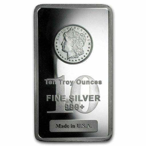Morgan Dollar 10oz .999 Silver Bullion Bar 1