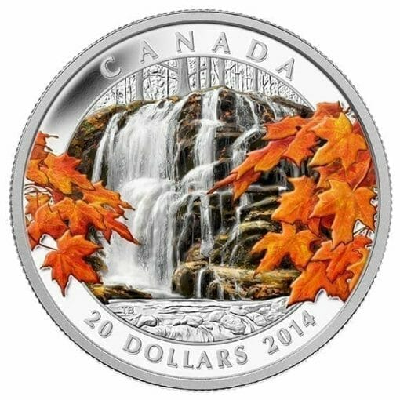 2014 $20 Autumn Falls 1oz .9999 Silver Coin - Royal Canadian Mint 1