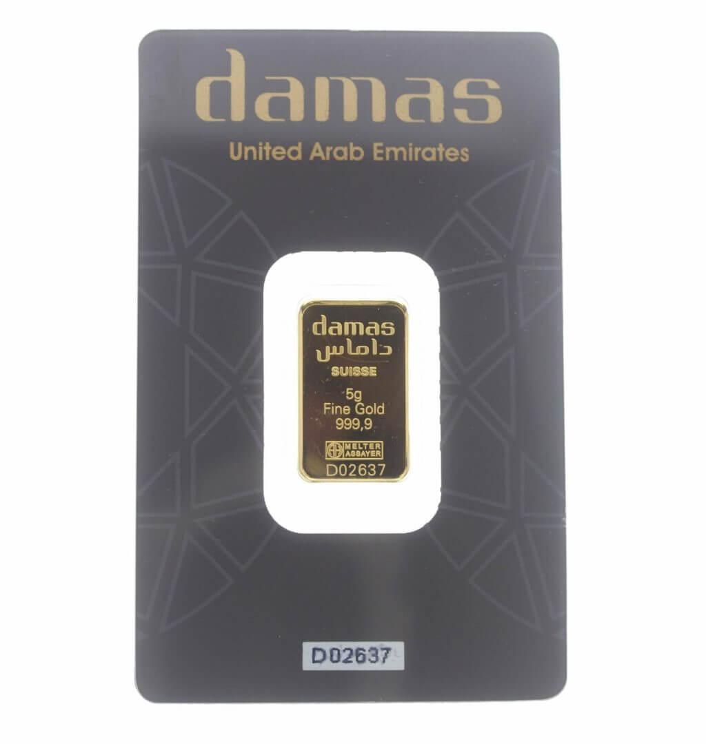Damas 5g .9999 Gold Minted Bullion Bar - Argor-Heraeus Switerzerland 1