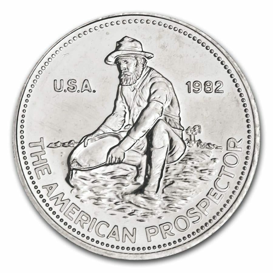 1982 Engelhard The American Prospector 1oz .999 Silver Bullion Round - Engelhard 1
