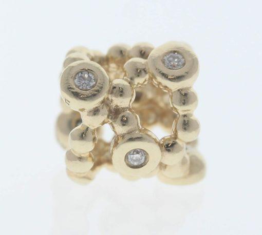 Pandora 14ct Gold Precious Memory Charm with Diamonds - 750459D - Retired ALE 585 2