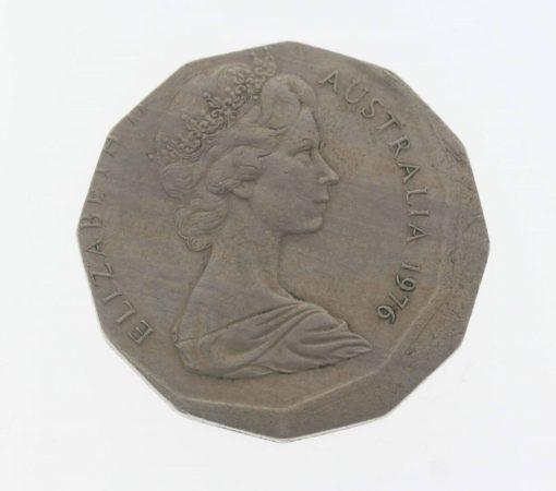 1976 Australian 50c Coin - Broadstrike Error - 50 Cent Coin 2