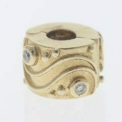Pandora 14ct Gold Clip Charm with Diamonds Babbling Brook - 750418D - Retired ALE 585 6