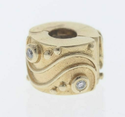Pandora 14ct Gold Clip Charm with Diamonds Babbling Brook - 750418D - Retired ALE 585 2