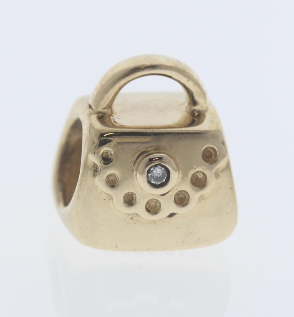 Pandora 14ct Gold Purse / Handbag with Diamond - 750340D - Retired ALE 585 2