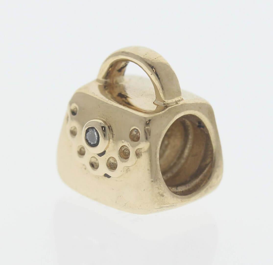 Pandora 14ct Gold Purse / Handbag with Diamond - 750340D - Retired ALE 585 3