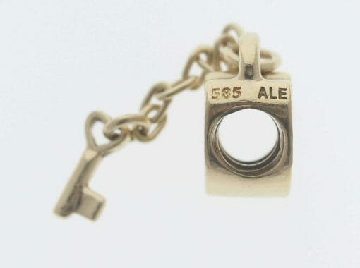 Pandora 14ct Gold Key To My Heart Charm - 750341 - Retired ALE 585 3