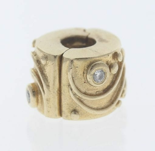 Pandora 14ct Gold Clip Charm with Diamonds Babbling Brook - 750418D - Retired ALE 585 3