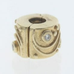 Pandora 14ct Gold Clip Charm with Diamonds Babbling Brook - 750418D - Retired ALE 585 7