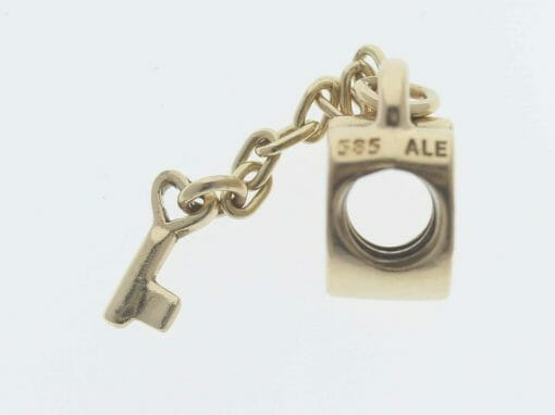 Pandora 14ct Gold Key To My Heart Charm - 750341 - Retired ALE 585 4
