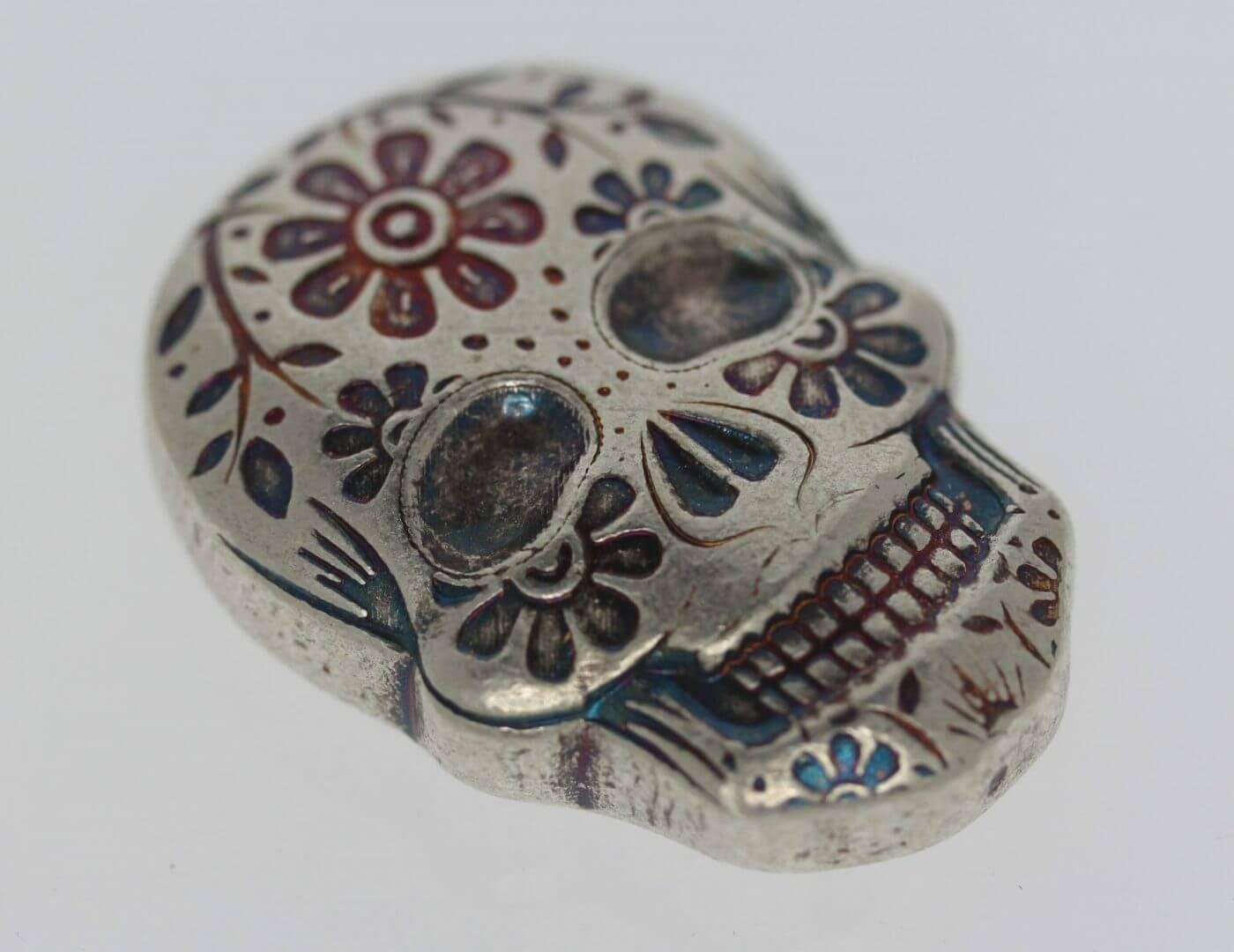 Day of the Dead 2oz .999 Hand Poured Silver Bullion Skull - Monarch Precious Metals 2