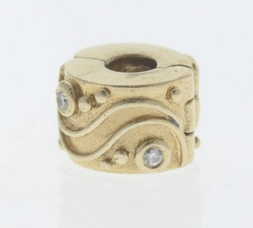 Pandora 14ct Gold Clip Charm with Diamonds Babbling Brook - 750418D - Retired ALE 585 4