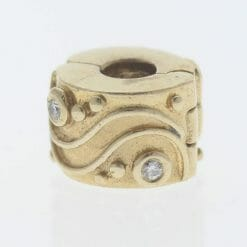 Pandora 14ct Gold Clip Charm with Diamonds Babbling Brook - 750418D - Retired ALE 585 8