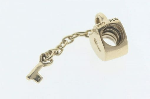 Pandora 14ct Gold Key To My Heart Charm - 750341 - Retired ALE 585 5
