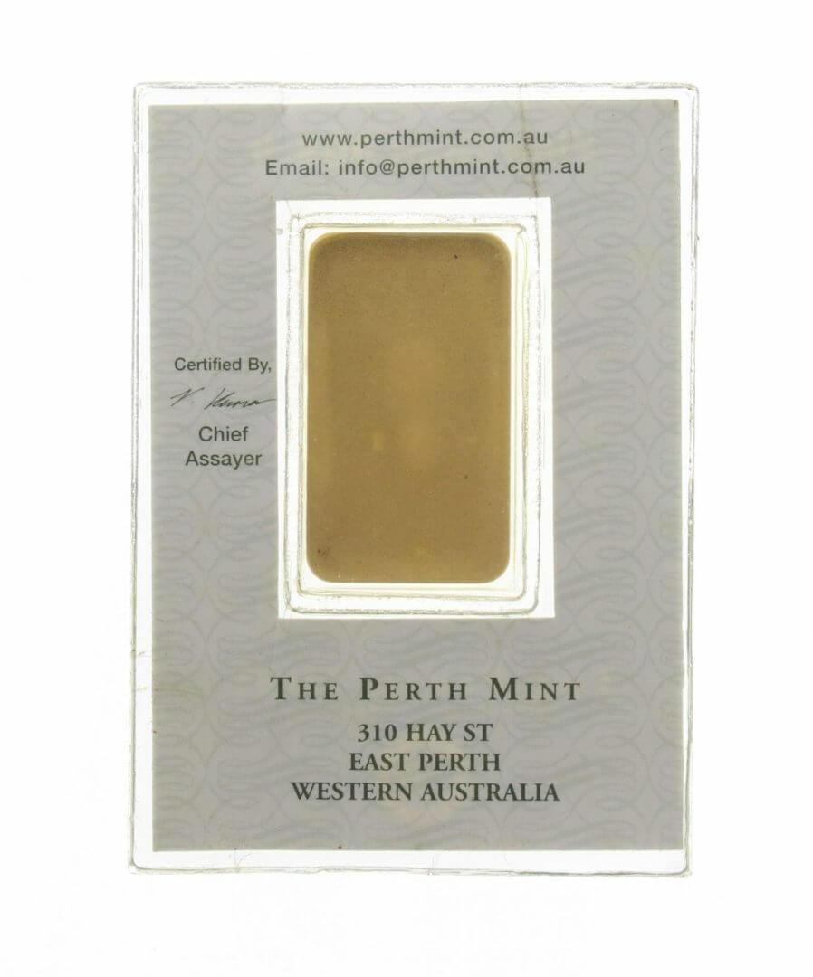 VINTAGE The Perth Mint 20g .9999 Gold Minted Bullion Bar 2