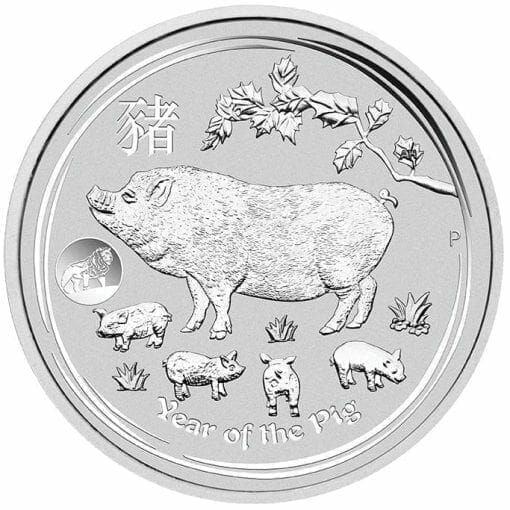 2019 Year of the Pig with Lion Privy 1oz .9999 Silver Bullion Coin - Lunar Series II - The Perth Mint 1