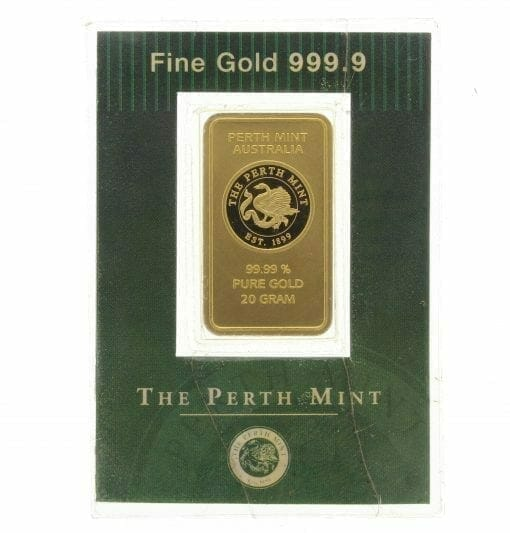 VINTAGE The Perth Mint 20g .9999 Gold Minted Bullion Bar 1