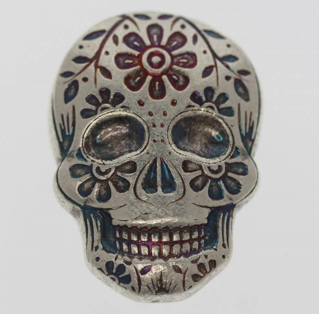 Day of the Dead 2oz .999 Hand Poured Silver Bullion Skull - Monarch Precious Metals 1