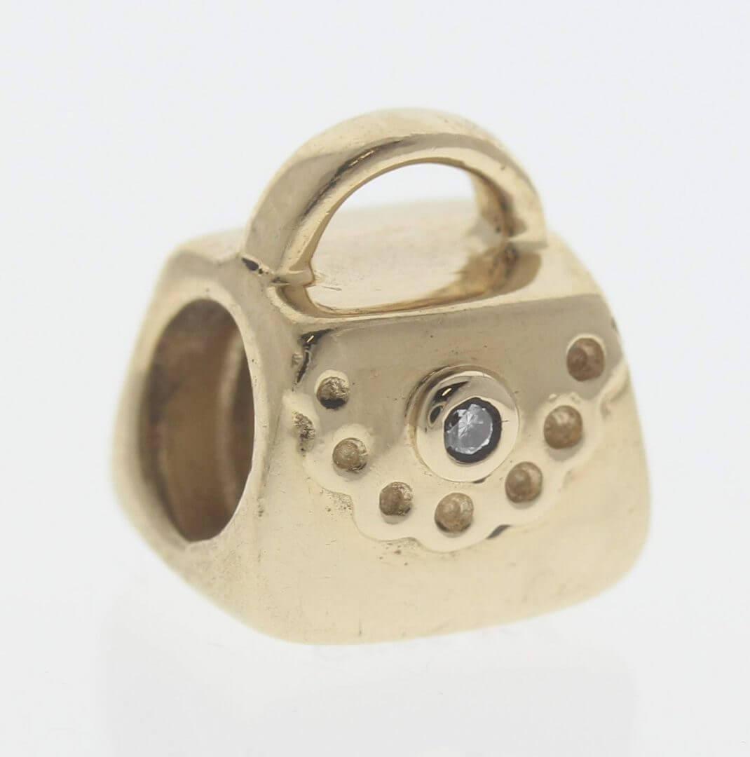 Pandora 14ct Gold Purse / Handbag with Diamond - 750340D - Retired ALE 585 1