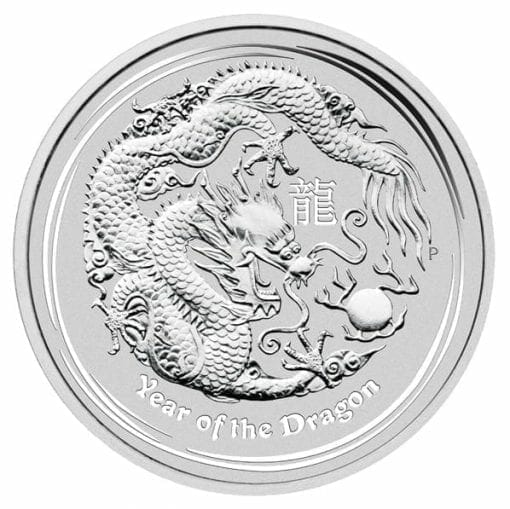 2012 Year Of The Dragon 5oz .999 Silver Bullion Coin - Lunar Series II - The Perth Mint 1