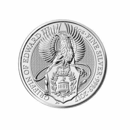 2017 Queen's Beasts Griffin of Edward III 2oz .9999 Silver Bullion Coin - Royal British Mint 1