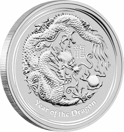 2012 Year Of The Dragon 5oz .999 Silver Bullion Coin - Lunar Series II - The Perth Mint 2