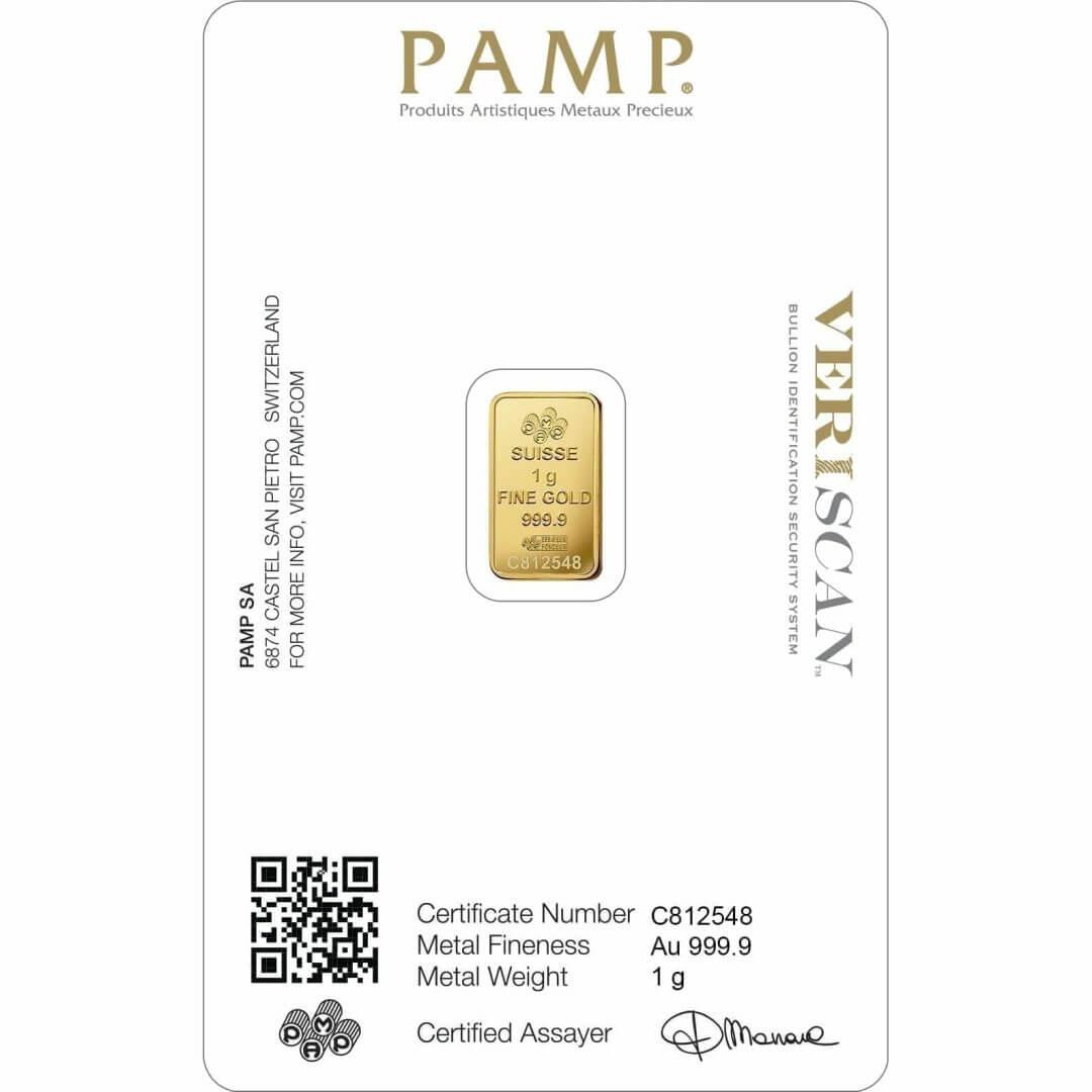 Lady Fortuna 1g .9999 Gold Minted Bullion Bar - PAMP Suisse 2