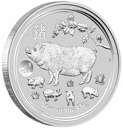2019 Year of the Pig with Lion Privy 1oz .9999 Silver Bullion Coin - Lunar Series II - The Perth Mint 2