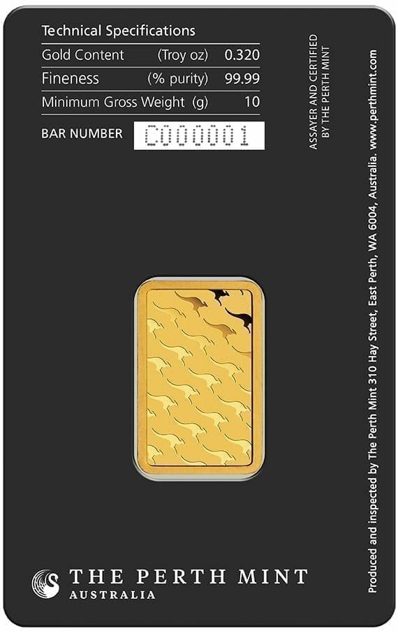 Perth Mint Kangaroo 10g .9999 Gold Minted Bullion Bar 2