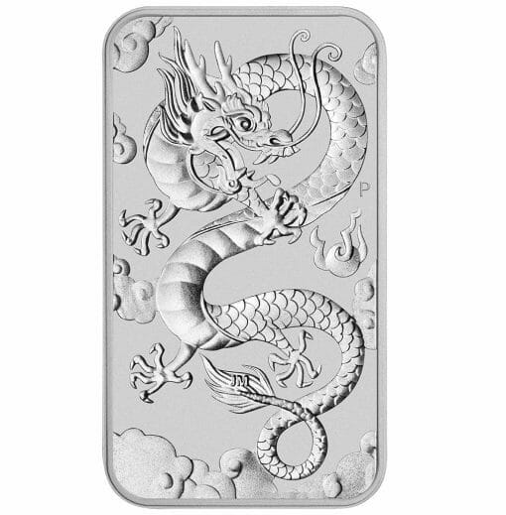 2019 Dragon 1oz .9999 Silver Bullion Rectangular Coin 1