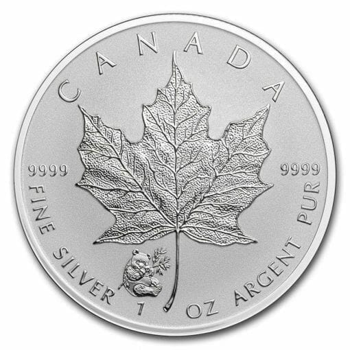 2016 Maple Leaf with Panda Privy 1oz .9999 Silver Bullion Coin - Reverse Proof - Royal Canadian Mint 1
