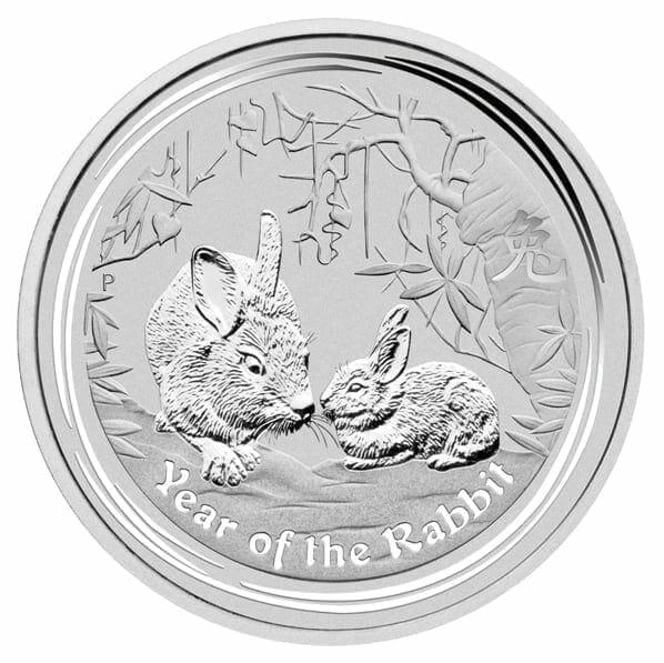 2011 Year of the Rabbit 2oz .999 Silver Bullion Coin - Lunar Series II - The Perth Mint 1
