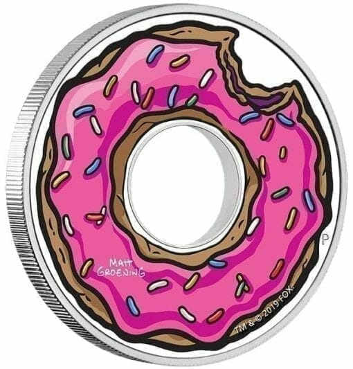 2019 The Simpsons - Donut Coloured 1oz .9999 Silver Proof Coin - The Perth Mint 3