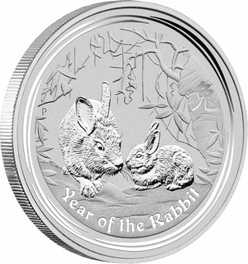 2011 Year of the Rabbit 2oz .999 Silver Bullion Coin - Lunar Series II - The Perth Mint 2